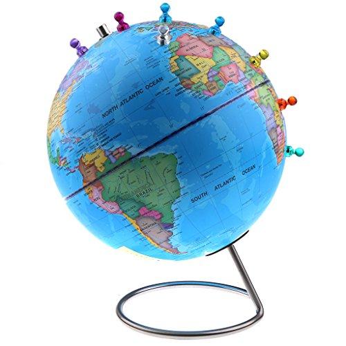 Homyl Globo Magnético de Mapa Mundial de Pie con Pins Juguetes Educativos de Geografía Regalo para Niño - Azul