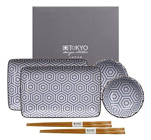 Tokyo Design Studio, Sushi Assiette+bol+baguette, porcelaine japonais, Nippon Blue - Coffret de 2
