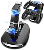 Weddecor PS4, PS4 Pro, PS4 Slim, Dual Vertical Docking Charging Station with USB