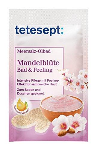 Tetesept Meersalz Ölbad Mandelblüte - Bad und Peeling - Zum Baden und Duschen - intensiv pflegend,...
