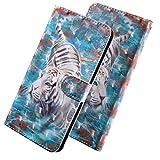 ShinyCase PU Leder Handyhülle für LG K8 2018/LG K9 (2018 Modell) 5.0-Zoll Luxus Bling 3D Bunt Brieftasche Wallet Flip Ledertasche im Brieftasche-Stil Tiger Muster Handytasche für LG K8 2018