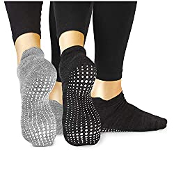 LA Active Grip Socken - 2 Paar - Yoga Pilates Barre Ballet Abs Noppen Rutschfeste (Grau und Schwarz, 37-40 EU