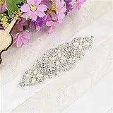 TRLYC Ivory Ribbon Wedding Belt Bridal Belt Wedding Dress Sash Crystal Rhinestone Applique