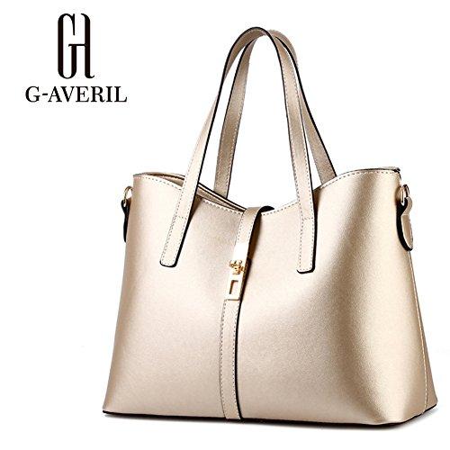 (G-AVERIL) Donna Handbag borsa a Spalla Borse a mano Tote Bag Shoulder Bag con oro