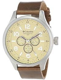 Los hombres de Columbia CA015220 superflowdesign analógico redondo grande de color marrón de la correa de reloj