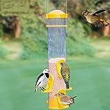 MD 18pulgadas de alto al aire libre amarillo plástico alimentador colgante para pájaros con diseño de múltiples pequeño agujero de alimentación