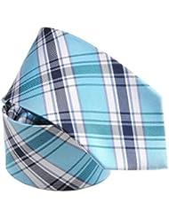 Cravate soie madras bleu sur bleu