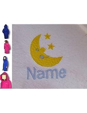 Childs accappatoio con cappuccio con logo a luna e stelle e nome a scelta in blu royal. Età: 2, 4, 6, 8, 10o...