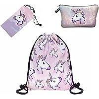 Smallbox Hermosa Lindo Unicornio Patrón de Moda 3D Impreso Bolsa de Cordón Mochila y Maquillaje Cosmético Bolsa Para Adolescentes Mujeres Viajes Gimnasio Escuela (2 Piezas) (unicornio rosa)