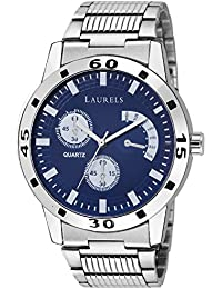 Laurels Blue Color Analog Men's Watch With Metal Chain: LWM-MTX-030707