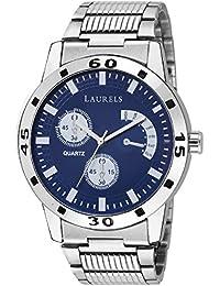 Laurels Blue Color Analog Men's Watch With Metal Chain: LWM-MTX-030707