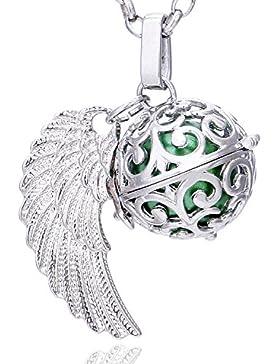 [Gesponsert]Morella Damen Schutzengel Halskette Edelstahl 70 cm mit Anhänger Engelsflügel und Klangkugel Zirkonia in Schmuckbeutel
