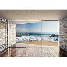 Vlies Fototapete PREMIUM PLUS Wand Foto Tapete Wand Bild Vliestapete    Terrasse Balkon Fenster Steinwand Strand