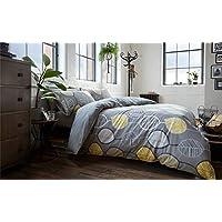 Funda de edredón de color plateado, gris, amarillo y blanco, diseño de hoja King Size
