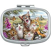 Katzen und Schmetterlinge Selfie Rechteck Pille Fall Schmuckkästchen Geschenk-Box preisvergleich bei billige-tabletten.eu