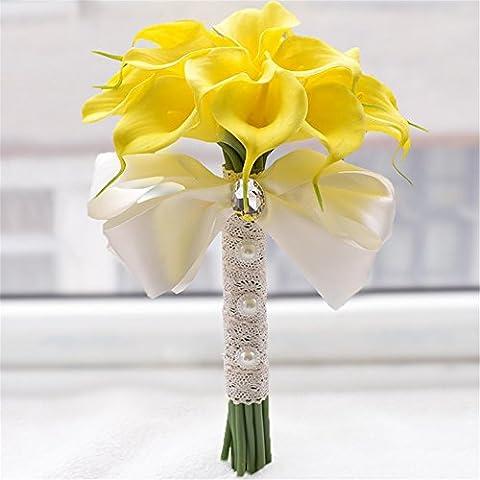 18piezas Calla Lily Bridal Wedding Bouquet cabeza de látex Real Touch flores ramos flores 2