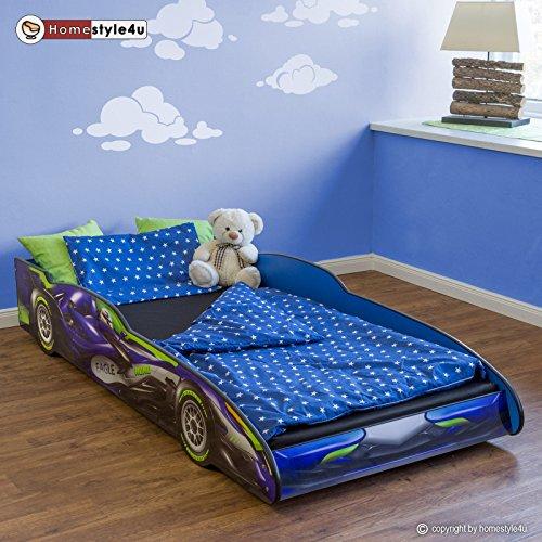 #Homestyle4u Doppelbett in Racing Car Design, Holz, Blau, 94,5x 211.5X 35,5cm#