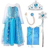 Frbelle® Vestido Azul de Pricesa con 4 Piezas de Guantes Trenzas Tiara Diadema Varita Mágica Disfraz de Cosplay Fiesta Halloween Cumpleaños Niñas 2 3 4 5 6 7 Años