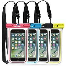 [IPX8 Certificado] iVoler [4 Unidades] Funda Bolsa Móvil Impermeable Universal 6.2 Pulgadas para iPhone X, 8, 8 Plus, 7, 7 Plus,6 / 6s Plus, SE 5S 5C, Samsung Galaxy S9/S9 Plus/S8/S8+/S7/S7 Edge/S6/S6 Edge/Edge+, Huawei P20/P20 Lite/P10/P10 lite, BQ Aquaris, LG, Sony, Motorola, Monedas, Pasaporte, etc. (Negro+Azul+Verde+Rosa)