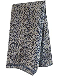 Brocade Fabric Rich gold navy blue woven mugal threadwork blouse skirt material