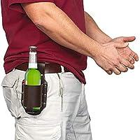 Funda de cerveza, soporte de cerveza de botella de cuero, accesorios de cerveza, cuero de soporte de cerveza, gadget para el día del hombre (2 piezas marrón negro)