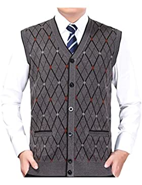 Zhhlaixing De los hombres Mens Father Button Down Soft Rhombus Pattern Knitted Knitwear Pullover Jumper Vest Waistcoat...