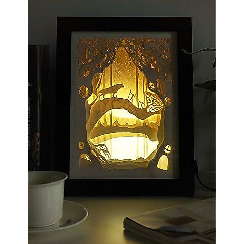 ZSQ 23*23*6CM Navidad presente novela 3 D Sketch tallado de papel mural creativa Lámpara LED Luz Lámpara del bastidor , 220v #767