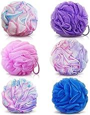 BEAUTRISTRO Round Bath Sponge Loofah/Scrub for Women and Men (Random Colour) - Set of 6