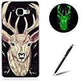 Samsung Galaxy A510/A5 2016 TPU Case Coque Samsung Galaxy A510/A5 2016 Gel Housse Feeltech [Gratuit Stylet Pen] Luminous Effect Noctilucent Green Glow in the Dark Matte White Ultra Slim Soft Rubber Shock Absorber Flexible Bumper Protective Cover Skin Shell pour Apple Samsung Galaxy A510/A5 2016 with Stylish Unique Colourful Printed Pattern Design - Sika Deer