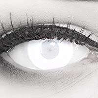 Farbige Kontaktlinsen Jahreslinsen Meralens Blind White Mentalist FAST KEINE SICHT komplett weiße Zombie Zombi weisse Motivlinsen inklusive Gratis Behälter Für Fasching, Karneval und Halloween
