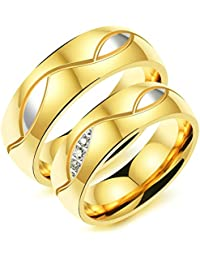 Beydodo Valentines Day Gifts for Her and Him Size J 1/2-V 1/2 White Cubic Zirconia Gold Silver