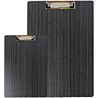 GossipBoy 2 Pcs / 1 Set Moderno High Qualtiy Density Board A4 A5 Portapapeles File Form Holder Almacenamiento Elegance Luxury Wood Grain Rounded Corners Portapapeles, Negro
