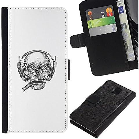 YiPhone /// Tirón de la caja Cartera de cuero con ranuras para tarjetas - Cigarro jefe cráneo - Samsung Galaxy Note 3 III