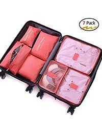 Walsilk Organizadores de viajes, Embalaje Organizador, Organizadores de equipaje de viaje,Cubos de embalaje, con bolsas de ropa+bolso del sujetador+bolsa de zapatos