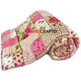 Handcraftd Microfiber Handcrafted Floral Double Bed AC Blanket(88x105-inch, Multicolour)