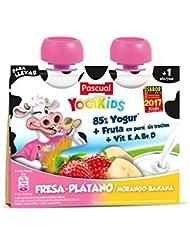 Pascual Yogur Liquido Fresa-Plátano - Paquete de 2 x 80 gr - Total: