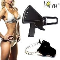 Slim Guide Eco Bundle Negro: grasa corporal de alicate + ergonómico Body cinta métrica