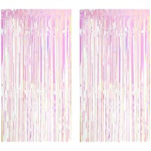 2 cortinas metálicas brillantes de color arcoíris con diseño de flecos para decoración de cumpleaños,