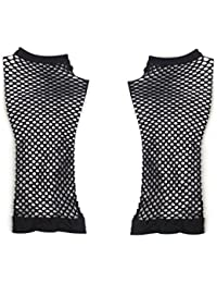 Pair Black Stretchy Mesh Fishnet Elbow Fingerless Goth Arm Warmers for Lady