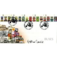 """Classic Buses - 16 different on one stamp issue - Signed by """"Blakey"""" Stephen Lewis!"""