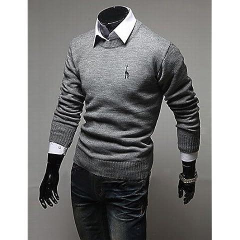 XX&GX moda ubanni camicia silm rotonda del collare del ricamo manica lunga shirt_light grigio , light gray , xxl