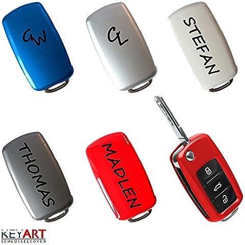 Llave Key Cover para VW Skoda Seat Llave con tu nombre o iniciales VS1, flashrot