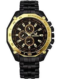 Orlando Chronograph Look Analogue Black Dial Mens Metal Watch - W1215BB