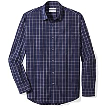 Amazon Essentials Long-sleeve Plaid Shirt Blue (Navy Windowpane), XX-Large