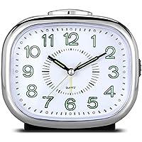CEEBON Non Ticking Desk Bedside Alarm Clock, Quartz Alarm Clock with Loud Analog Mechanical Bell Alarm Melody Alarm Snooze Silent Nightlight Luminous, Battery Powered (Silver with Luminous Hands)
