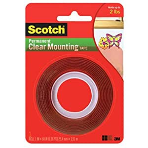 3M Scotch 4010 Permanent Clear Mounting Tape: 1 in. x 60 in. (Clear)