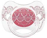 Chupete premium Suavinex Couture con tetina fisiológica de silicona, diseño étnico en tonos rosas, para bebés de +18 meses