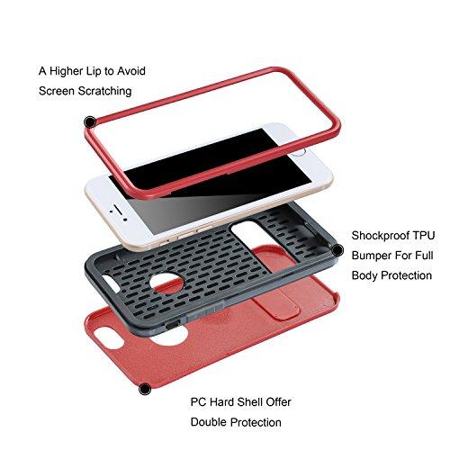 iPhone 6S/6étui, wisdompro® 3pièces [Ultra] hybride de protection robuste anti-chocs avec béquille intégrée (Coque souple en TPU et insert double rigide externe Armor) pour 11,9cm pour Apple iPhone rouge