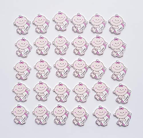 edelkern Streudeko Holz Baby 30 x Mädchen | Süße Dekoration für Babypartys, Taufen und Geburtstage | Zum Dekorieren, Verzieren, Basteln und Verschenken
