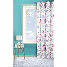 Cortina en morado de 140 x 250cm para dormitorio de niñas, colección Dizzy con búhos